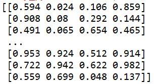 pandasで読み込んだcsvファイルをnumpy配列として出力した結果