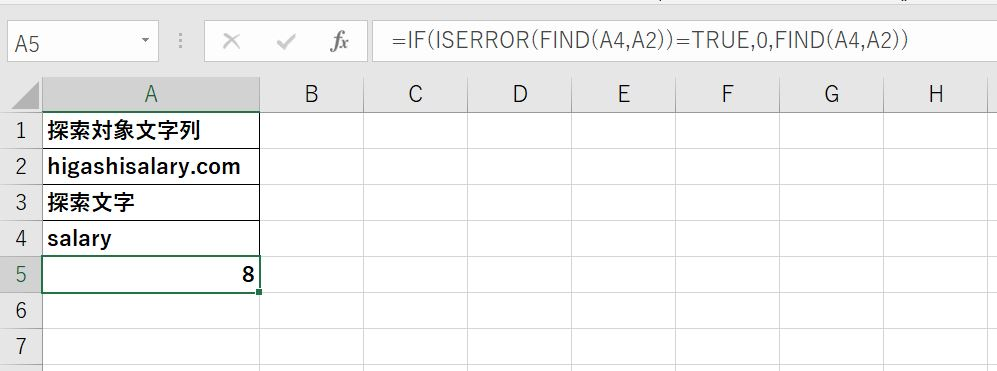 FIND関数の適用時のエラーを除去した結果