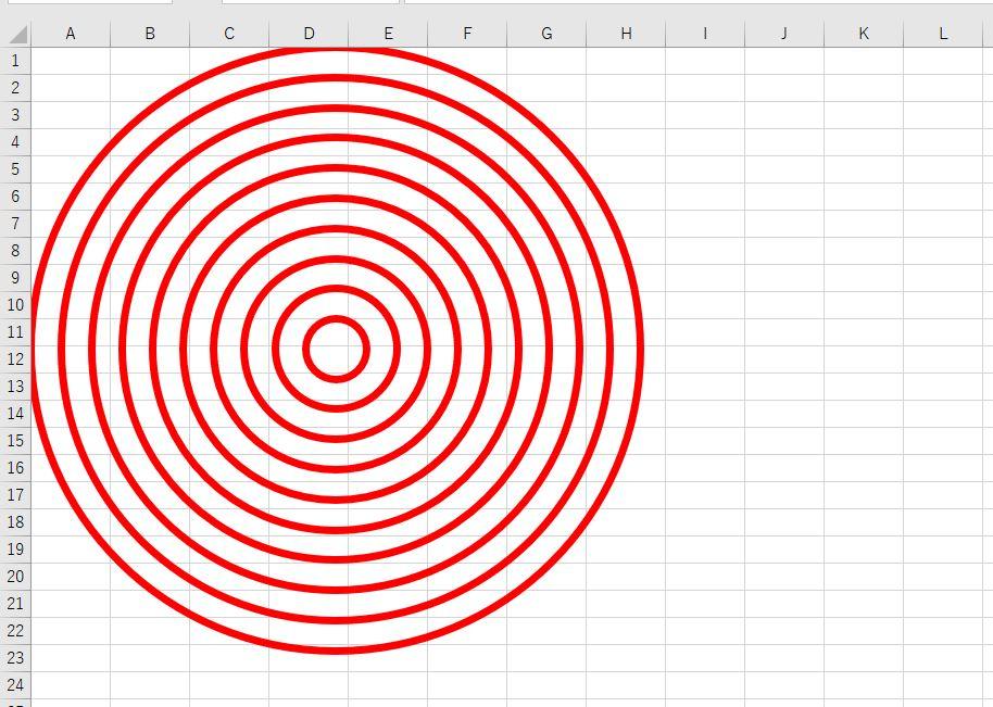エクセル上で等間隔で円図形を作成したサンプル画像