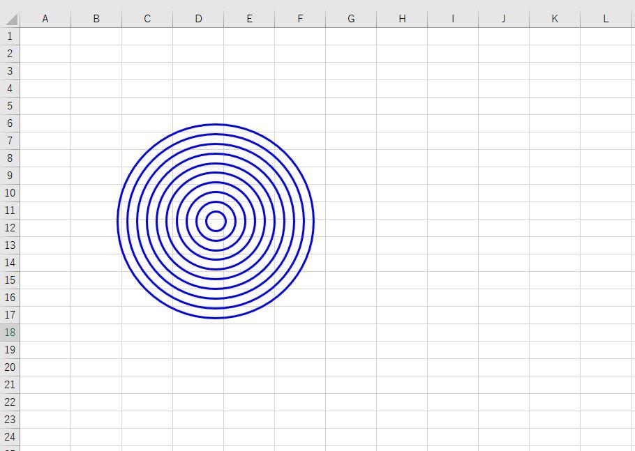 等間隔で円図形を作成した結果(線の色、太さを変更)