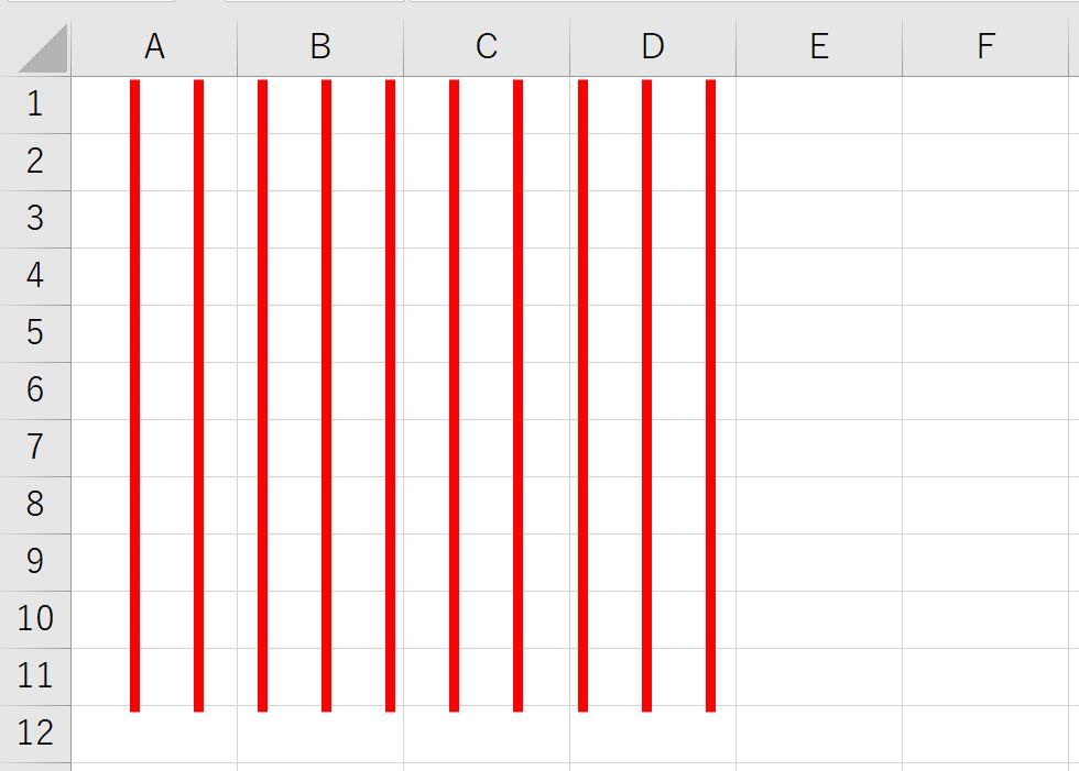 エクセル上で等間隔の直線図形を作成した例