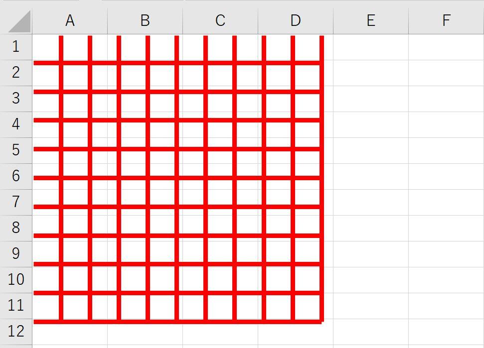 エクセル上で等間隔の直線図形を作成した例(横、縦同時)